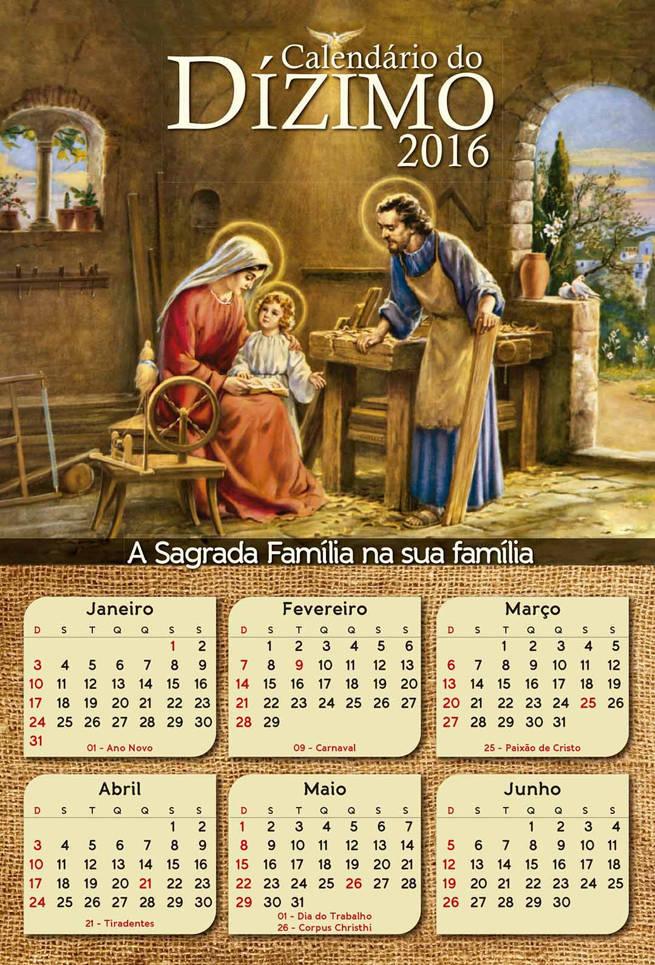 Calendário do Dízimo 2016 Frente e Verso