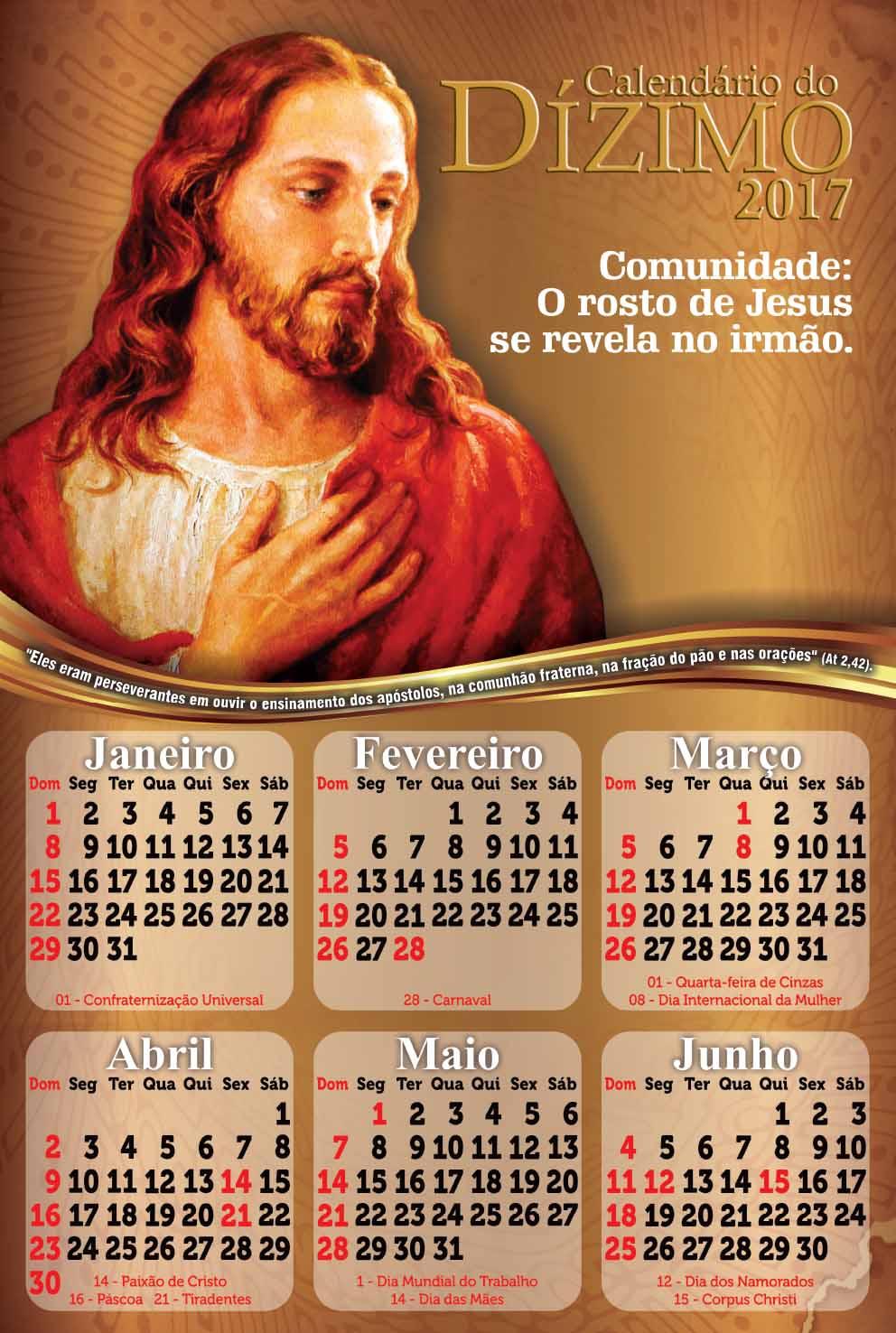 Calendário do Dízimo 2017 Frente e Verso